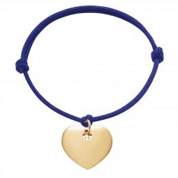 Bracelet avec cœur plaqué or sur un cordon épais bleu bleuet