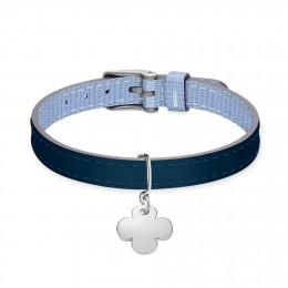 Bracelet en cuir bicolore avec un trèfle rond en argent