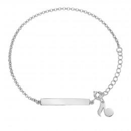 Bracelet avec plaque et note de musique en argent