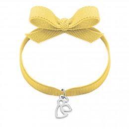 Bracelet ruban de couleur dorée avec angelot ajouré en argent
