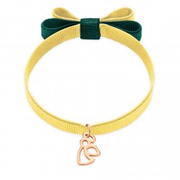 Bracelet ruban double nœud de couleur dorée avec un angelot ajouré plaqué or