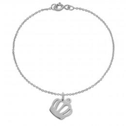 Bracelet avec une couronne Queen en argent sur une chaîne fine classique