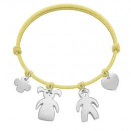 Bracelet avec trèfle rond, fille, garçon et cœur en argent sur un cordon épais de couleur jaune