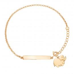 Bracelet avec plaque et éléphant plaqué or