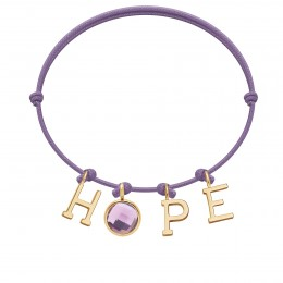 Bracelet HOPE avec pendentif quartz violet, sur cordon fin lavande