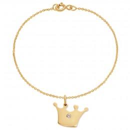 Bracelet avec une couronne Princess plaquée or sur une chaîne fine classique