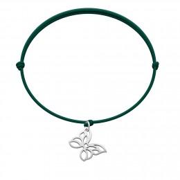 Bracelet avec papillon ajouré en argent sur un cordon fin vert bouteille