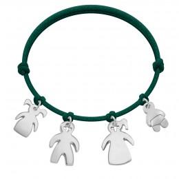 Bracelet avec fille, garçon et bébé en argent sur cordon épais vert bouteille