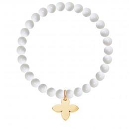 Bracelet Vénus en pierres naturelles avec un lys plaqué or