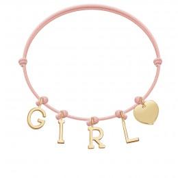 Bracelet GIRL, lettres et coeur plaqué or, sur cordon classique rose poudre