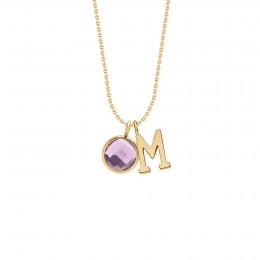 Collier avec lettre «M» et quartz violet sur chaîne fine classique