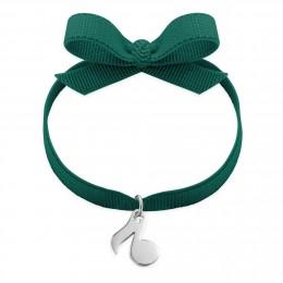 Bracelet ruban de couleur vert foncé avec une note de musique en argent
