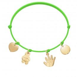 Bracelet avec cœur, bébé, Talisman de Naissance et médaillon plaqués or sur un cordon fin vert fluo