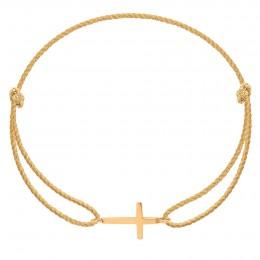 Bracelet avec une croix en or585 sur un cordon épais doré premium