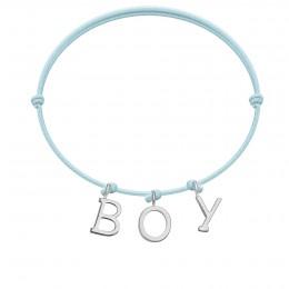 Bracelet BOY, lettres plaqué argent, sur cordon classique bleu ciel