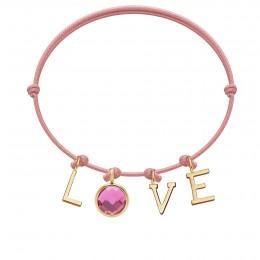 Bracelet LOVE avec pendentif quartz rose, sur cordon fin rose