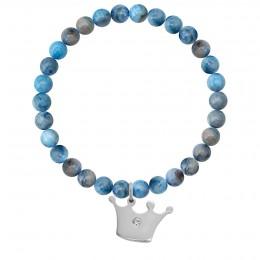 Bracelet Neptune en pierres naturelles avec une couronne Princess argent