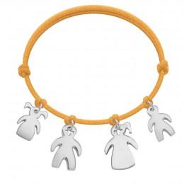 Bracelet avec filles et garçons en argent sur cordon épais de couleur orange fluo