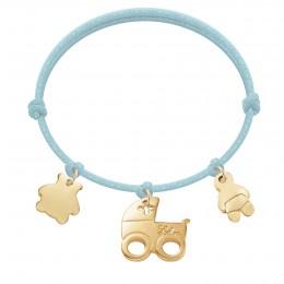Bracelet avec nounours, landau et bébé plaqués or sur un cordon épaisse bleu clair