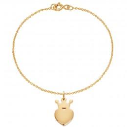 Bracelet avec une couronne King plaquée or sur une chaîne fine classique