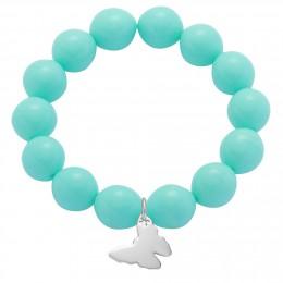 Bracelet en grandes billes de cristal couleur menthe avec un papillon d'argent