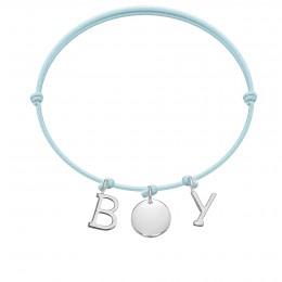 Bracelet BOY, lettres et médaillon plaqué argent, sur cordon classique bleu ciel