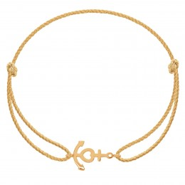Bracelet avec une ancre en or585 sur un cordon épais doré premium