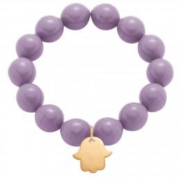 Bracelet en grandes billes de cristal couleur violette avec une main de Fatima plaquée or