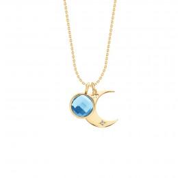 Collier Lune avec quartz bleu plaqué or sur chaîne fine classique