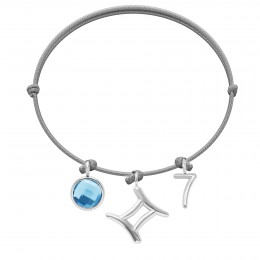 Bransoletka z niebieskim kwarcem, Bliźniętami i cyfrą 7 na cienkim jasnoszarym sznurku