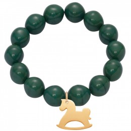 Bracelet en grandes billes de cristal vertes avec un cheval à bascule plaqué or