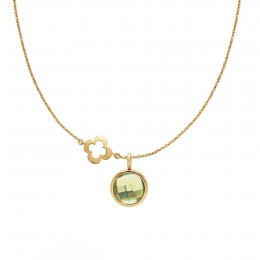 Collier avec quartz vert plaqué or sur chaîne fine classique avec trèfle ajouré