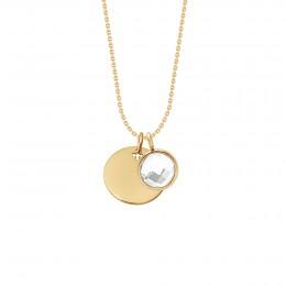 Collier avec médaillon et quartz blanc plaqué or sur chaîne fine classique