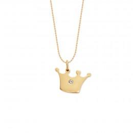 Collier avec une couronne Princess plaquée or sur une chaîne fine classique