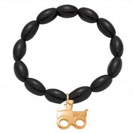 Bracelet en billes noires de cristal oblongues avec un landau plaqué or