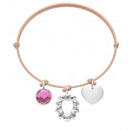 Bransoletka z różowym kwarcem, Lwem i sercem na cienkim łososiowym sznurku
