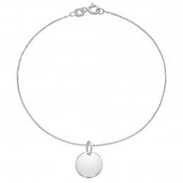 Bracelet avec médaillon en argent sur une chaîne fine