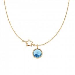 Collier avec quartz bleu plaqué or sur chaîne fine classique avec étoile ajourée