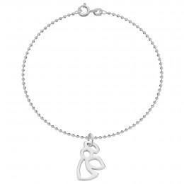 Bracelet avec angelot ajouré en argent sur une chaîne maille boules