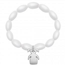 Bracelet en billes blanches de cristal oblongues avec une fille d'argent à deux queues de cheval