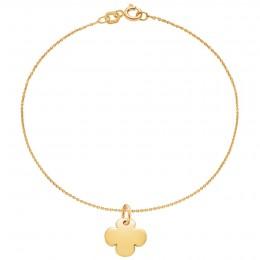 Bracelet avec trèfle rond plaqué or sur une chaîne fine