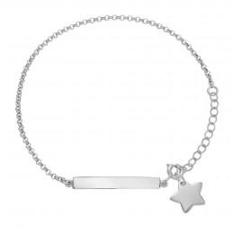 Bracelet avec une plaquette et une étoile en argent
