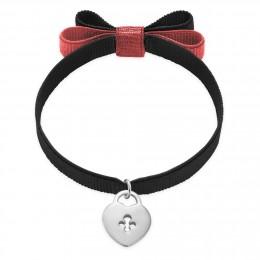 Bracelet ruban double nœud de couleur noire avec un cadenas en argent