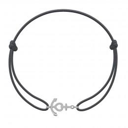 Bracelet avec ancre en argent sur un cordon fin graphite