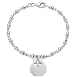 Bracelet avec hibou en argent sur une chaîne maille trois boules