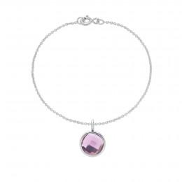 Bransoletka z posrebrzaną zawieszką z fioletowym kwarcem na cienkim klasycznym łańcuszku
