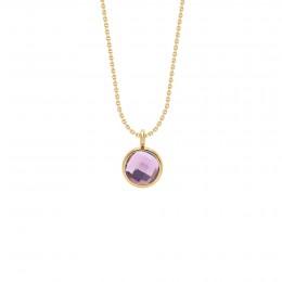 Collier avec pendentif quartz violet sur chaîne fine classique, plaqué or