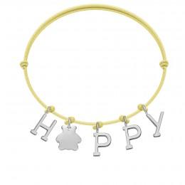 Bracelet HAPPY, lettres et ourson plaqué argent, sur cordon classique jaune