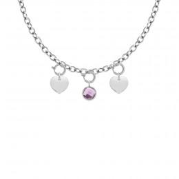 Collier Chaîne No.1 avec coeurs et quartz violet, plaqué argent