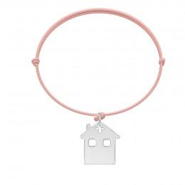 Bracelet avec maison en argent sur cordon rose poudre
